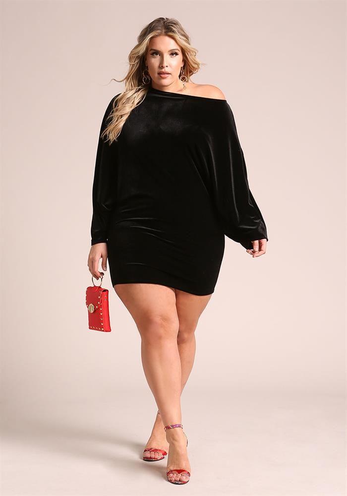 e7cf0138009 Plus Size Clothing   Plus Size Velvet Dolman Bodycon Dress   Debshops
