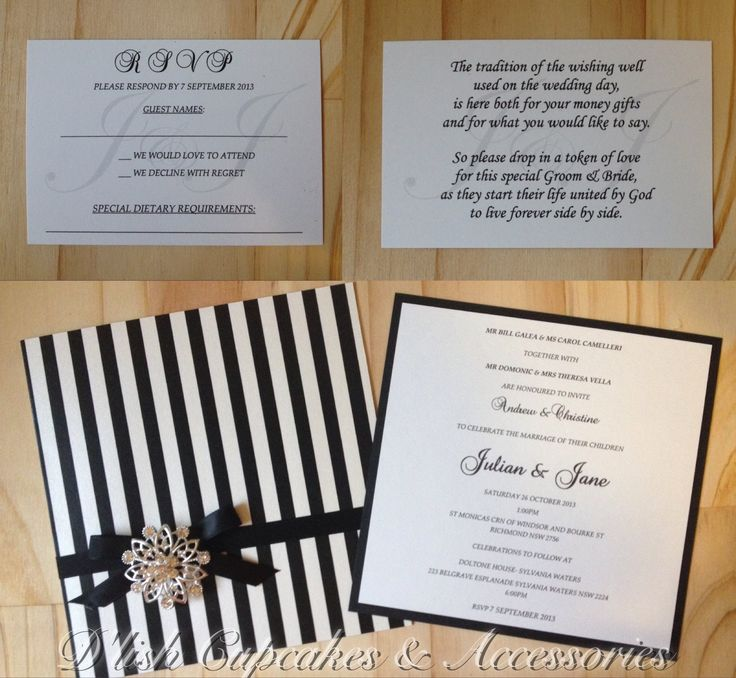 Black and white striped bespoke wedding invitations, trimmed with black ribbon and a diamanté broach, by D'lish Cupcakes & Accessories.
