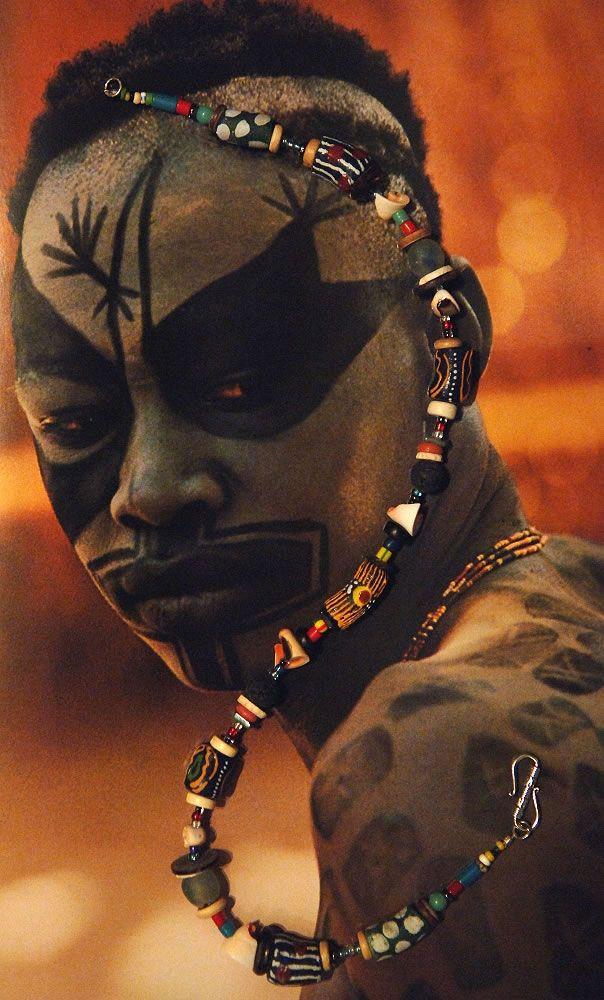 Sudan. Kau Nuba Man from the 1976 publication: People of Kau by Leni Reinfenstahl.