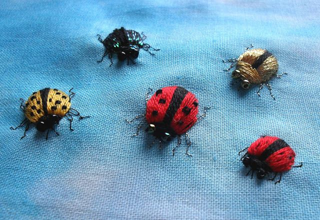 ♒ Enchanting Embroidery ♒ Sew in Love: embroidered bugs made with Kreinik metallics
