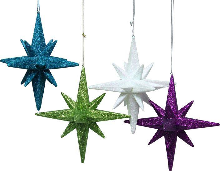 The Gemma 3D Star Ornaments shimmer and glitter in bright hues. Available in multiple colours.