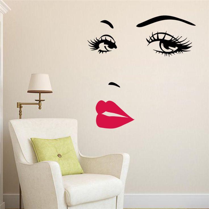 Barato Sexy lábios olhos adesivos de parede quarto decoração decalques de vinil diy adesivo de paredes zooyoo8469 mual art poster, Compro Qualidade Papéis de parede diretamente de fornecedores da China: &