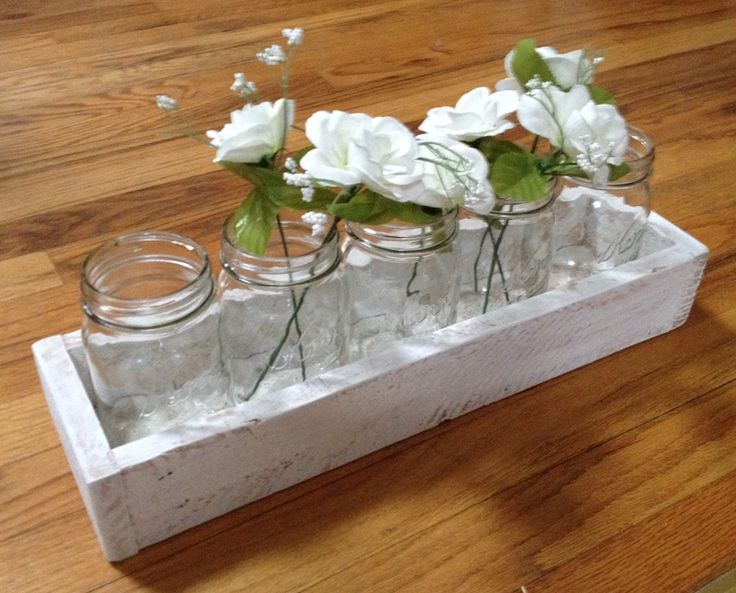 "17"" Pallet Centerpiece Box. Great for the Holidays. Fits (5) 1 Pint Mason Jars."