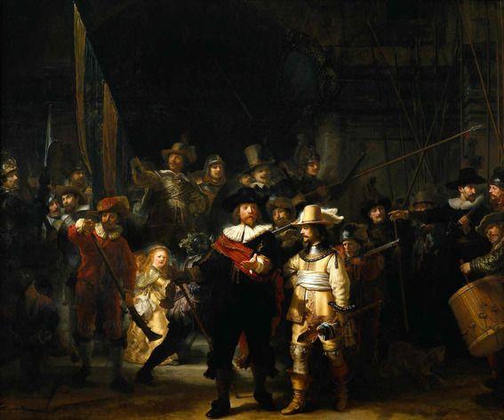 """De ergens rond 1640 geschilderde Nachtwacht had als oorspronkelijke naam """"De compagnie van kapitein Frans Banning Cocq en luitenant Willem v..."""