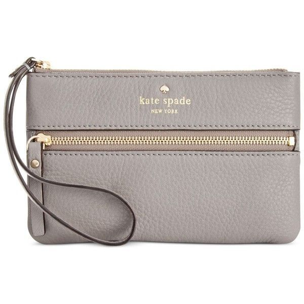 kate spade new york Cobble Hill Bee Wristlet (67 CAD) ❤ liked on Polyvore featuring bags, handbags, clutches, purses, hare grey, leather clutches, leather handbags, handbag purse, kate spade wristlet and leather hand bags