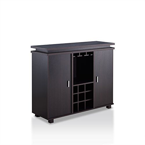 Neatly store and display all your drinkware and serve ware in one convenient place with the Loralei Contemporary Style Wine Storage Buffet Server. With a built in hanging stemware rack and nine (9) standard size wine rack, two (2) tall shelves open to reveal a spacious interior for dinnerware.... more details available at https://furniture.bestselleroutlets.com/game-recreation-room-furniture/home-bar-furniture/bar-wine-cabinets/wine-cabinets/product-review-for-homes-inside-ou