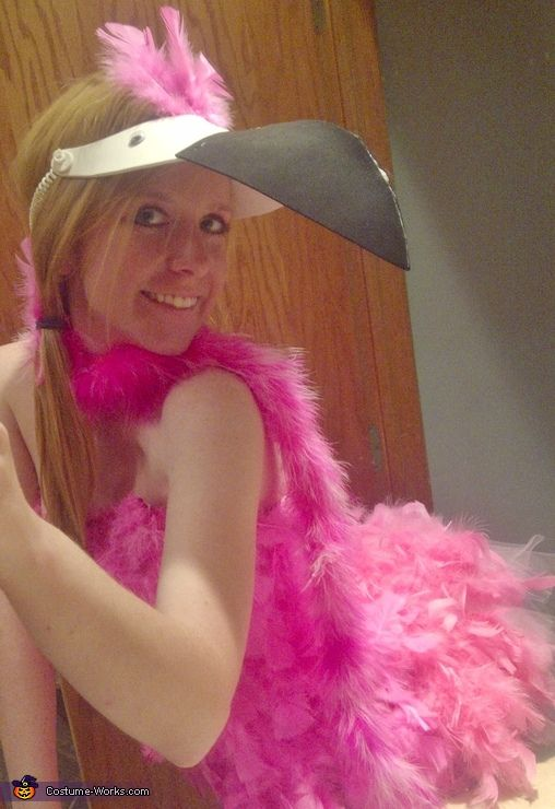 Tara: I made this costume for myself with about 5 packages of feathers and 3 boas. I glued feathers to a tank top and shorts and separately attached sleeves for wings....