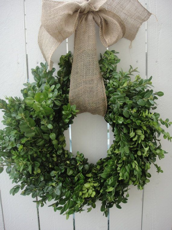 Dried Boxwood Wreath NOW ON SALE With Burlap Bow by donnahubbard