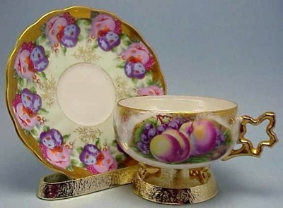 Royal Sealy Star Handle 3 Footed Fruit Orchard Tea Cup Saucer Vtg China Japan