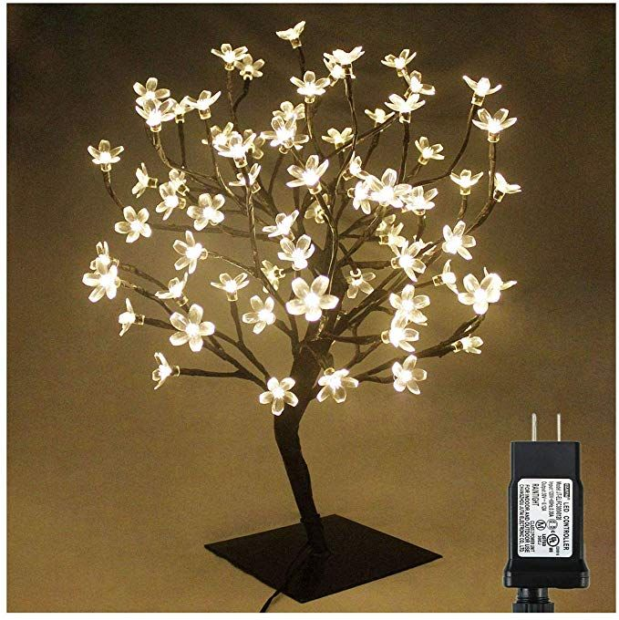 Pms 17inch 72 Leds Cherry Blossom Desk Top Bonsai Tree Light With Low Voltage Transformer Ideal For Christm Tree Lamp Xmas Tree Lights Warm White Fairy Lights