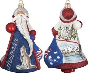 Australian Santa Sydney Opera House Polish Glass Glitterazzi Christmas Ornament