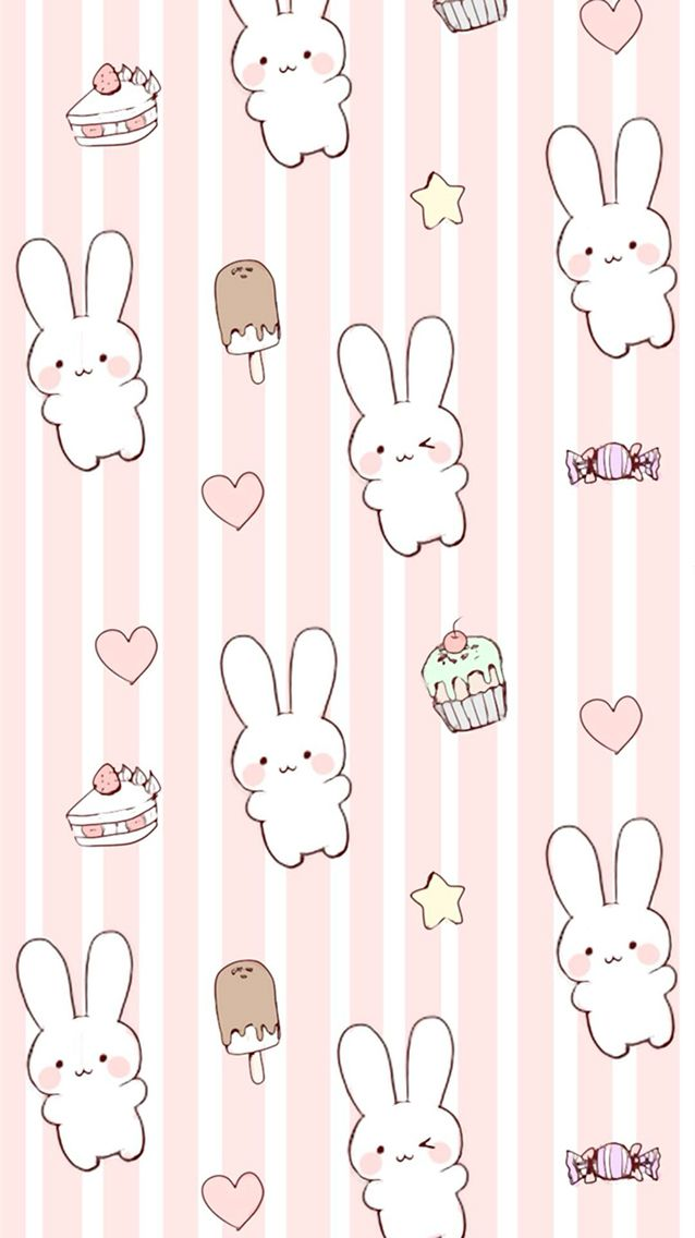 Cute kawaii bunny wallpaper background for iPhone 6/6s