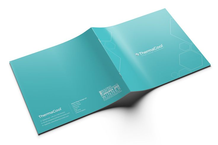 """ThermaCool required a new corporate brochure design to showcase their three core wall and ceiling products, which both harness unique """"phase change"""" technology. We targeted the feel for the early stage of building and architecture, using bold colour and imagery to match the website and stand out against office furnishings. #brochures #ThermaCool #design #graphicdesign #architects #specifiers #construction #technology"""