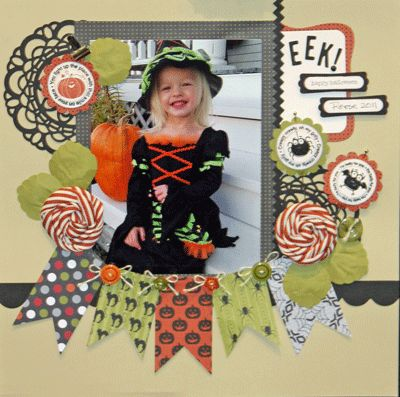 Halloween-scrapbook-page. Fun idea for Witches Night Out!