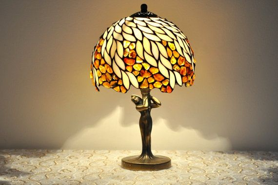 "Amber Willow -Table lamp. 8"" lamp shade made of stained glass and amber. Stained glass lamp. Tiffany lamp. Bedside lamp."