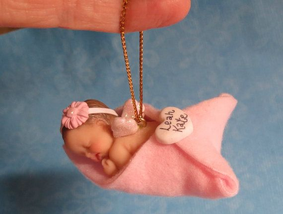 *POLYMER CLAY ~ Newborn Angel Baby Ornament Wrapped in Fleece Blanket with Personalized Heart