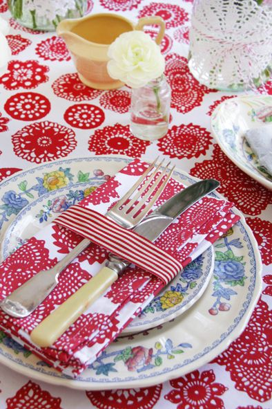 Dandi Doilie tablecloth is perfect for a ladies lunch or high tea. Place settings can be decorating with a simple ribbon to add a little extra love to your table.  http://www.dandi.com.au/dining/fabric-
