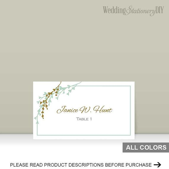Mint gold placecards template Garden by WeddingstationeryDIY