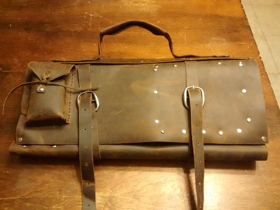 Distressed leather chef knife bag