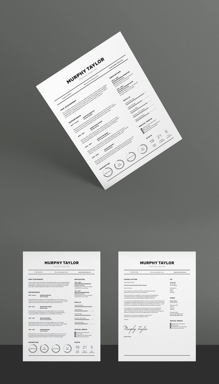 A super simple design which contains a lot of useful information, including charts, skill bars and stats, 'Murphy' offers a meticulously​ crafted layout to suit any profession. Also included is a matching cover letter (including sample letter) for a complete presentation.