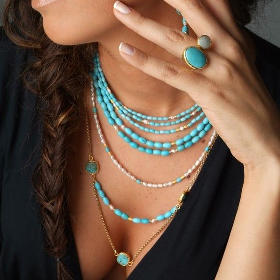 Multi layer turquoise necklace. I need this one, too. $198.