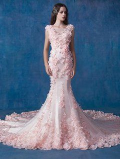 Glamorös Rosa Bröllopsklänning Sjöjungfru Organza Applique Brudklänningar