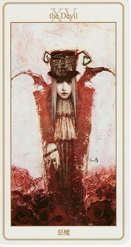 The Devil may be telling you that you are off course in your journey. Take stock of where you are in your life. If you are not satisfied, then make the appropriate changes. Recognize what is happening around you and make amends. {The Devil - Lunatic Tarot}