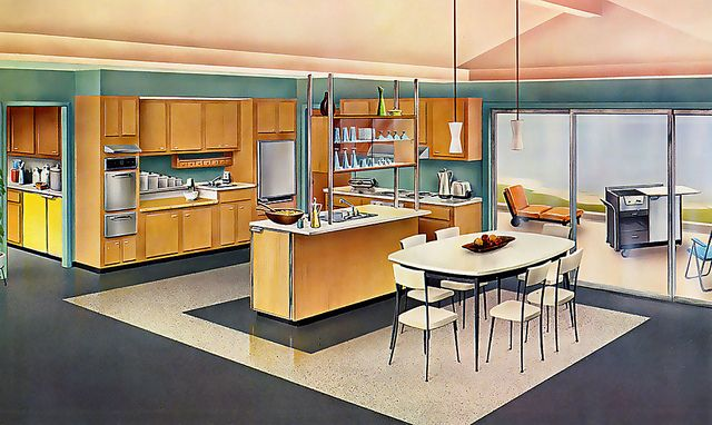 A spacious, strikingly modern 1950s open concept kitchen that still would still work beautifully in a range of homes today. #mid_century #kitchen