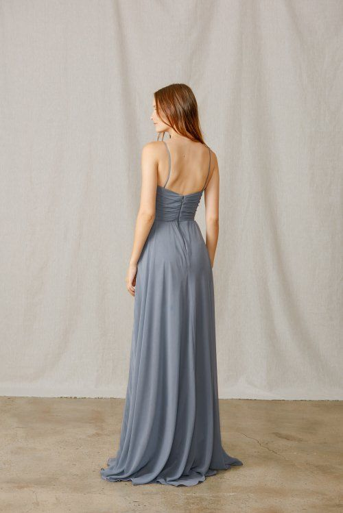 Spaghetti strap bridesmaids dress with ruched notched and wide waist bodice. Exclusive style for Bella Bridesmaids. Shown in Twilight and Teal.