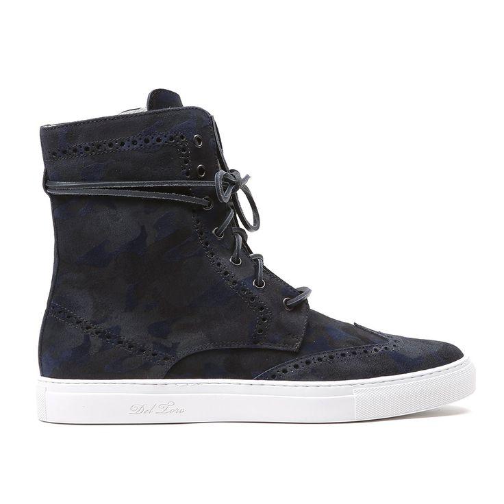 Men's Navy Camo Suede Molto Alto Sneaker Boot