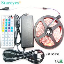 US $11.00 1 set 5M 300 LED SMD 5050 RGB LED strip DC12V tape Non Waterproof Strip flashlight lighting with IR Remote + 5A Power Adapter. Aliexpress product
