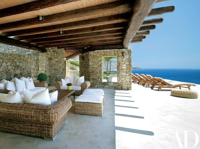 The client, a businessman in Athens, and his family entertain often, so a spacious outdoor living area was important | archdigest.com