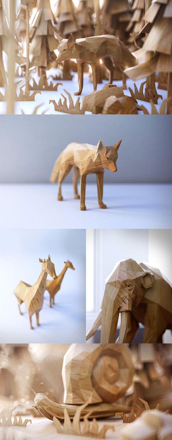 PolyWood: Toy Animal Concepts Rendered in Polygons by Mat Szulik:
