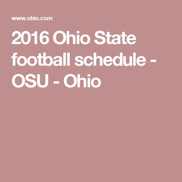2016 Ohio State football schedule - OSU - Ohio