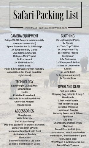 The Ultimate Overland Safari Packing List: The best resource for all your packing needs. Tech, Camera Equipment, Gear, Clothes - it's all covered here! **************************************************************************************** Overland Safari Packing List | Safari Packing List | Africa Safari Packing List