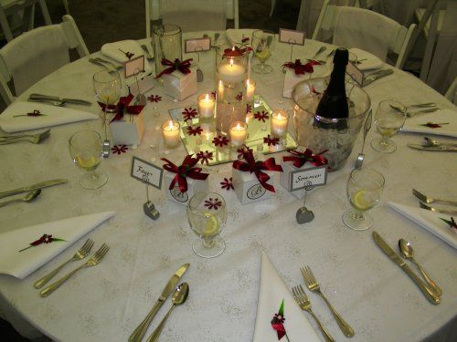 Simple But Elegant Place Settings For A Buffet Style Wedding Reception.  Complete With Chilled Champagne