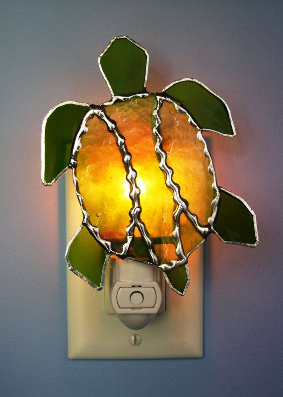 Stained Glass Green Turtle Light Sensor by stainedglassturtle, $32.95