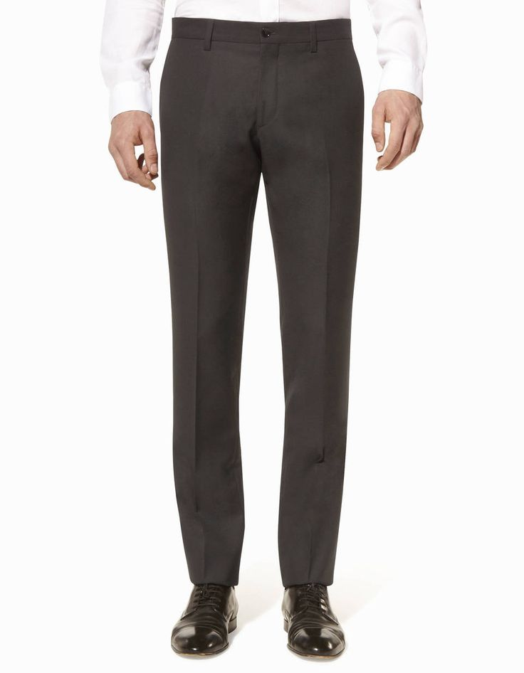 Pantalon de costume micro-armuré coupe slim laine - SPELBA_NOIRMETROSTATIONB - Vue de face - Celio France