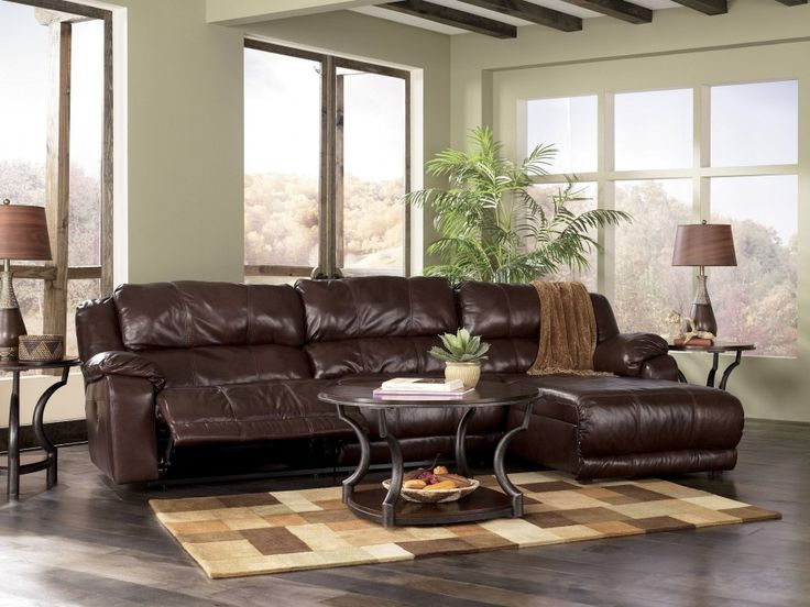 Living Room Elegant Brown Leather Sofa Round Table And Wooden