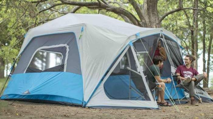 Core Lighted 10 Person Instant Cabin Tent With Screen Room In 2020 Cabin Tent Best Family Tent Family Tent Camping