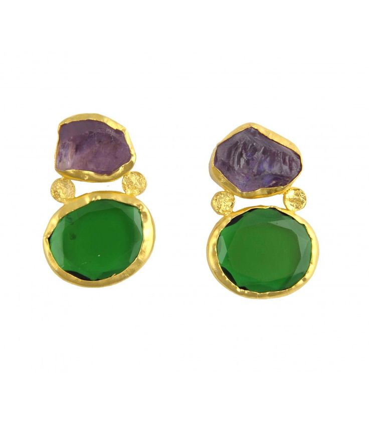 Wear Pray Love Gold Green Quartz Amethyst Earrings by Zariin. Hand crafted with green quartz and amethyst stone in 22kt gold plating. See the collection at www.zariin.com   #green #quartz #amethyst #stone #goldplated #earrings #zariin #jewelry