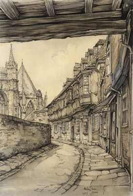 drawing by Anton Pieck Reistekening, Engeland