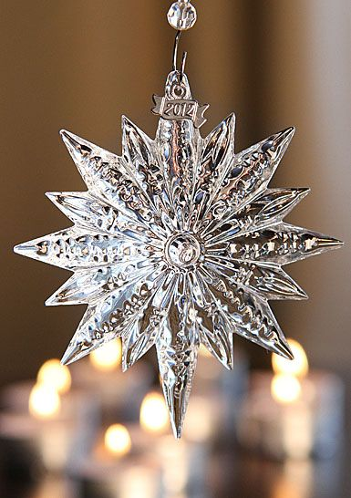 This will be adorning our tree this year, it's beautiful. The start of our collection. Waterford 2012 Snowstar Ornament