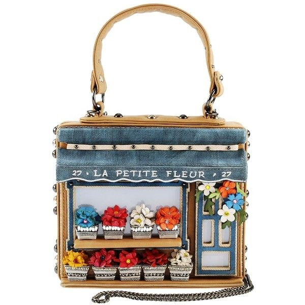La Petite Fleur Embellished Flower Shop Themed Novelty Top Handle Bag ($315) ❤ liked on Polyvore featuring bags, handbags, beaded, embellish, decorating bags, embellished handbags, white beaded purse, flower handbags and embellished bag