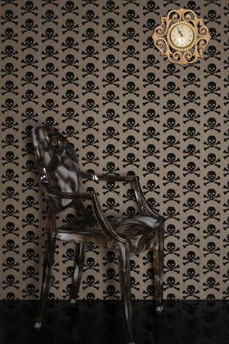 Skull Wallpaper in my giant walk in closet with a white chandelier :)
