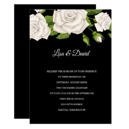 Wedding Invitation-White Roses Card - marriage invitations wedding party cards invitation