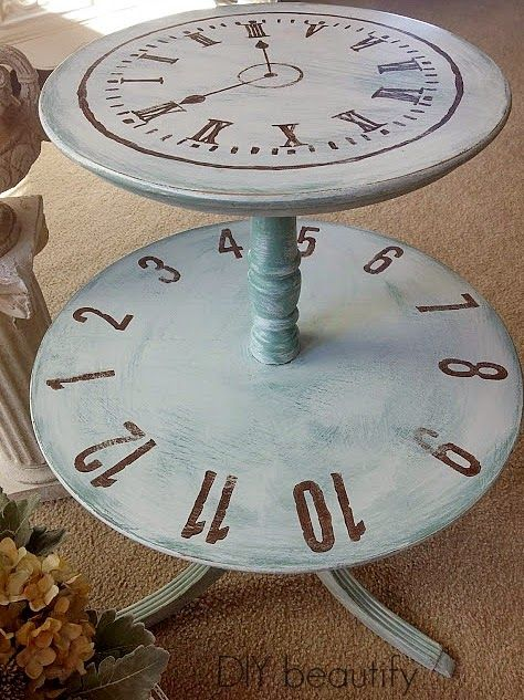Clock Inspired Double-Tier Table | Diy beautify