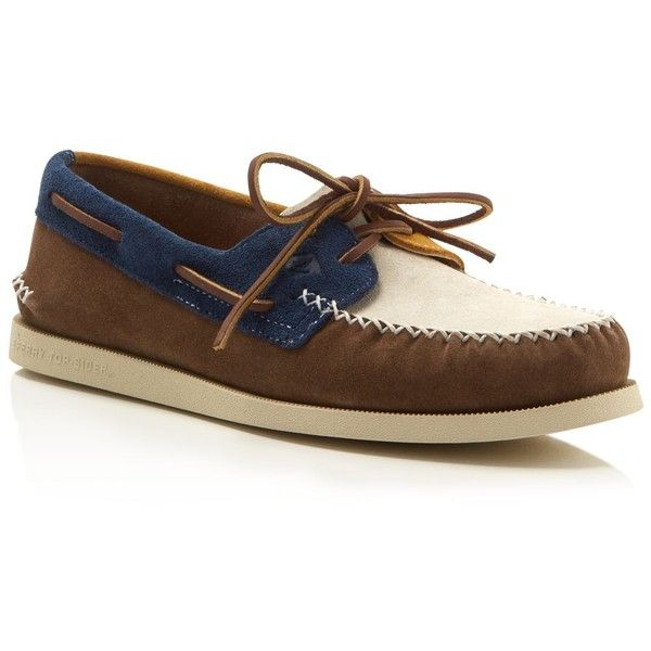 Sperry Authentic Original 2-Eye Wedge Boat Shoes (128150 IQD) ❤ liked on Polyvore featuring men's fashion, men's shoes, men's loafers, mens suede boat shoes, sperry top sider mens shoes, mens deck shoes, sperry mens shoes and mens boat shoes