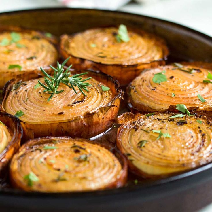 These marinated, slow roasted onions get soft and creamy on the inside and caramelize on the outside for a killer side dish. Mouthwatering aroma!