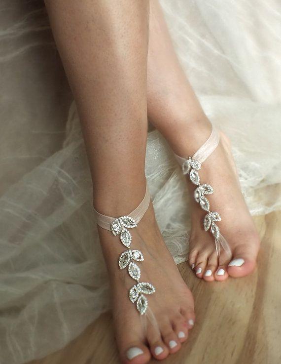 Rhinestone barefoot, Beach wedding barefoot sandals, FREE SHIP Barefoot Sandals, Sexy, Yoga, Anklet, Bellydance, blush flexible wrist